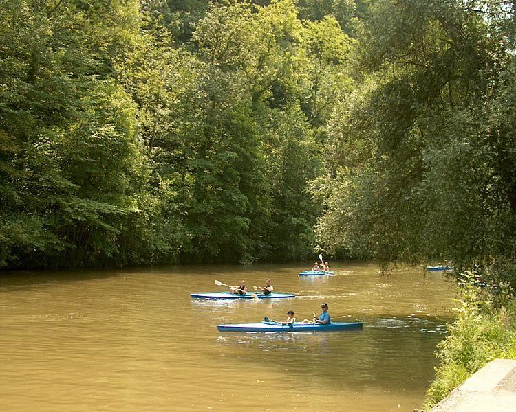 Kayaing on the Lesse River in Belgium